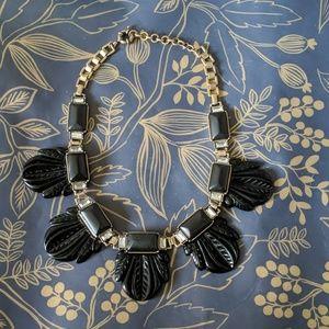 Nwot black leaf statement necklace